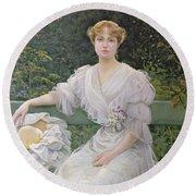 Portrait Of Marguerite Durand Round Beach Towel