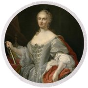 Portrait Of Maria Amalia Of Saxony As Queen Of Naples Overlooking The Neapolitan Crown Round Beach Towel