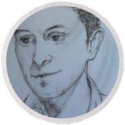 Portrait Of Mark Owen Round Beach Towel