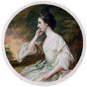 Portrait Of Miss Anne Dutton Round Beach Towel