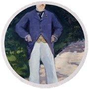 Portrait Of Monsieur Brun Round Beach Towel