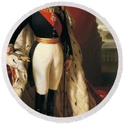 Portrait Of Napoleon IIi Louis Napoleon Bonaparte Round Beach Towel