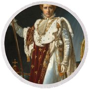 Portrait Of Napoleon In Coronation Robes Round Beach Towel