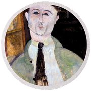 Portrait Of Paul Guillaume Round Beach Towel