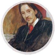 Portrait Of Robert Louis Stevenson 1850-1894 1886 Oil On Canvas Round Beach Towel