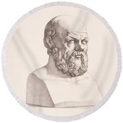 Portrait Of Socrates Round Beach Towel by CC Perkins