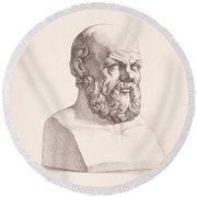 Portrait Of Socrates Round Beach Towel