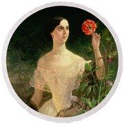 Portrait Of Sofia Andreyevna Shuvalova Round Beach Towel