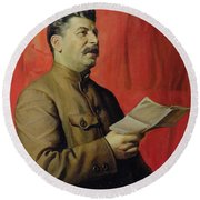 Portrait Of Stalin Round Beach Towel