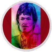 Rainbow Portrait Of Stevie Winwood Round Beach Towel