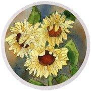 Portrait Of Sunflowers Round Beach Towel