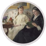Portrait Of The Artist S Mother And Sister Round Beach Towel