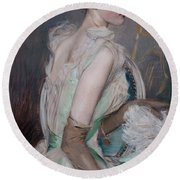 Portrait Of The Countess De Leusse Round Beach Towel