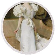 Portrait Of The Countess Of Clary Aldringen Round Beach Towel by John Singer Sargent