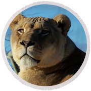 Portrait Of The Mighty Queen Round Beach Towel