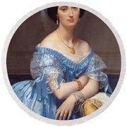 Portrait Of The Princesse De Broglie Round Beach Towel