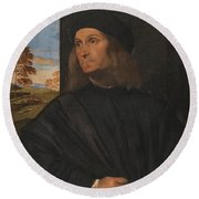 Portrait Of The Venetian Painter Giovanni Bellini Round Beach Towel