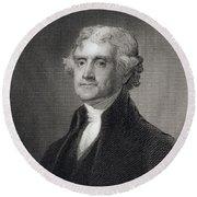 Portrait Of Thomas Jefferson Round Beach Towel by Henry Bryan Hall