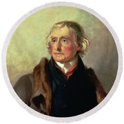 Portrait Of Thomas Jefferson Round Beach Towel