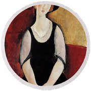 Portrait Of Thora Klinchlowstrom Round Beach Towel