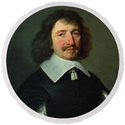 Portrait Of Vincent Voiture 1597-1648 C.1643-44 Oil On Canvas Round Beach Towel
