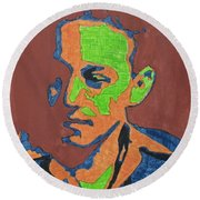 Portrait Plan Of Tennessee Williams  Round Beach Towel