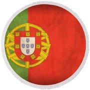 Portugal Flag Vintage Distressed Finish Round Beach Towel