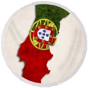 Portugal Map Art With Flag Design Round Beach Towel