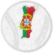 Portugal Painted Flag Map Round Beach Towel