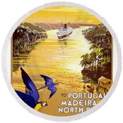Portugal Vintage Travel Poster Round Beach Towel