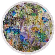 Posies In The Grass Round Beach Towel