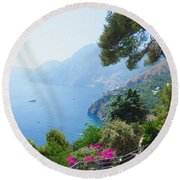 Positano Italy Amalfi Coast Delight Round Beach Towel