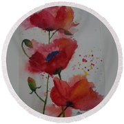 Positively Poppies Round Beach Towel