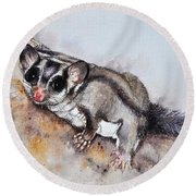 Possum Cute Sugar Glider Round Beach Towel