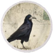 Post Card Nevermore Round Beach Towel by Edward Fielding