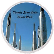 Post Card Of The Kennedy Space Centre Florida Round Beach Towel