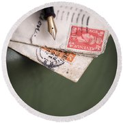 Post Cards And Fountain Pen Round Beach Towel