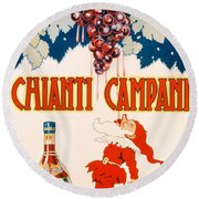 Poster Advertising Chianti Campani Round Beach Towel by Necchi