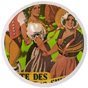 Poster Advertising F?te Des Costumes Round Beach Towel
