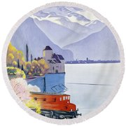 Poster Advertising Rail Travel Around Lake Geneva Round Beach Towel