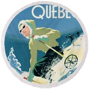 Poster Advertising Skiing Holidays In The Province Of Quebec Round Beach Towel by Canadian School