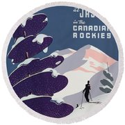 Poster Advertising The Canadian Ski Resort Jasper Round Beach Towel