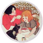 Poster Advertising The Compagnie Francaise Des Chocolats Et Des Thes Round Beach Towel