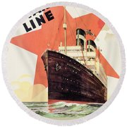 Poster Advertising The Red Star Line Round Beach Towel