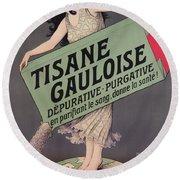 Poster Advertising Tisane Gauloise Round Beach Towel