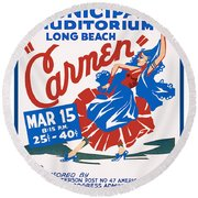 Poster For Production Of Carmen Round Beach Towel
