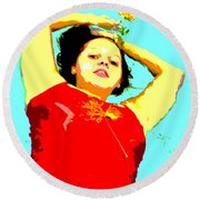 Poster Girl 2 Round Beach Towel