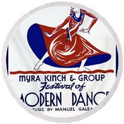 Poster Modern Dance Festival Round Beach Towel