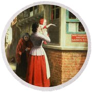 Posting A Letter, 1879 Round Beach Towel