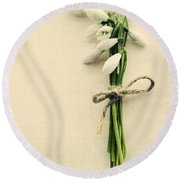 Posy Of Snowdrops Round Beach Towel